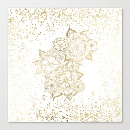 Hand drawn white and gold mandala confetti motif Canvas Print
