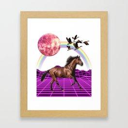 Vaporwave galactic horse Framed Art Print