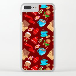 Cute winter Christmas seamless pattern. Hot cocoa, chocolate, candy, mittens, scarf, gingerbread men Clear iPhone Case