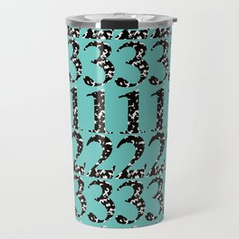 Postmodern Numbers in Marble Composition Notebook + Teal Travel Mug