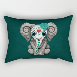 Teal Blue Day of the Dead Sugar Skull Baby Elephant Rectangular Pillow