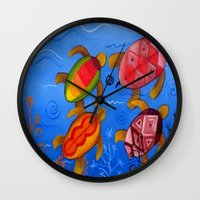 swimming Wall Clocks featuring Swimming by Montes Arte Mexicano