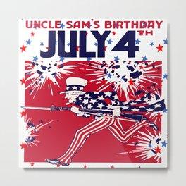 Star Studded Uncle Sam's Birthday 4th July Metal Print