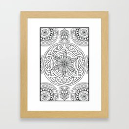 Circle Mandala Celtic Knot Pattern Black & Wite Framed Art Print