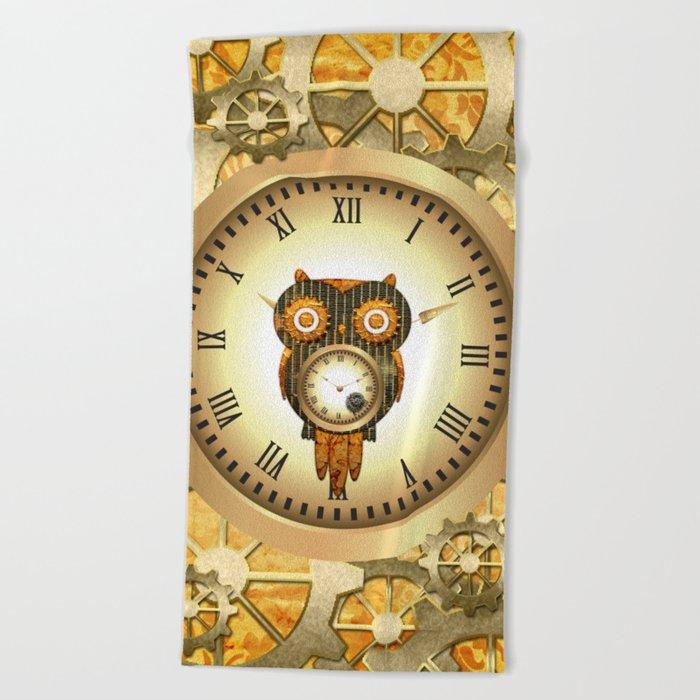 Steampunk, cute owl Beach Towel