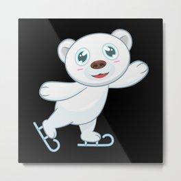 Polar Bear Ice Skate Ice Skating Metal Print