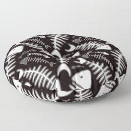 Fish Bone Black & White Floor Pillow