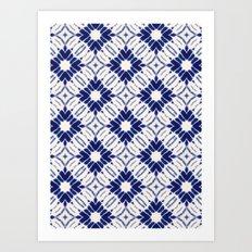 Watercolor Shibori Blue Art Print