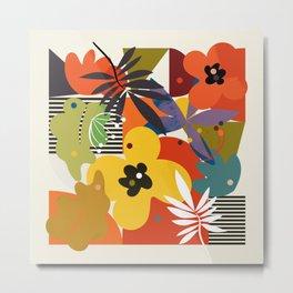 mid century minimal floral Metal Print