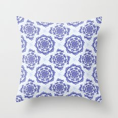 Blue & White Mandalas Throw Pillow