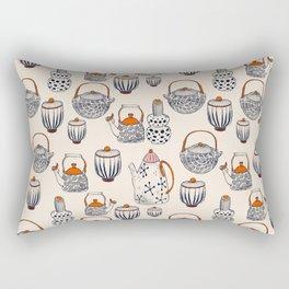 TEAPOT - pattern - beige, navy blue, red, pink Rectangular Pillow