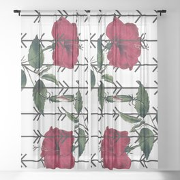 Red Hibiscus Pattern Sheer Curtain