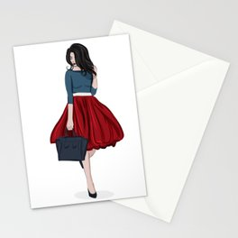 Romantic look, girl in red skirt Stationery Cards