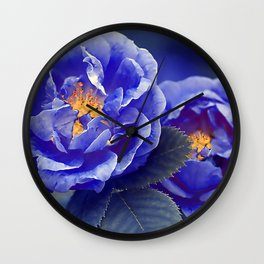 Blue Roser Wall Clock
