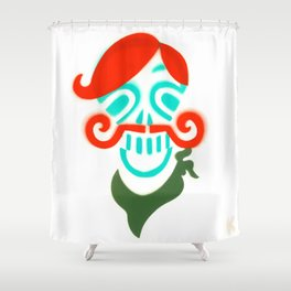 Sir Skull with Mustache  Shower Curtain