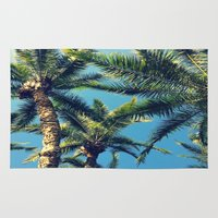 palm tree Area & Throw Rugs featuring Palm Tree by Jillian Stanton