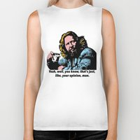 big lebowski Biker Tanks featuring The Big Lebowski Quotes by Guido prussia