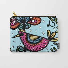 Weird and wonderful (Bird) - fun, bright flower and bird artwork Carry-All Pouch