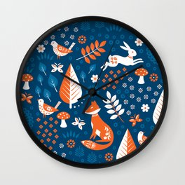 Scandi Forest Blues Wall Clock