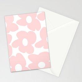 Large Baby Pink Retro Flowers on White Background #decor #society6 #buyart Stationery Cards
