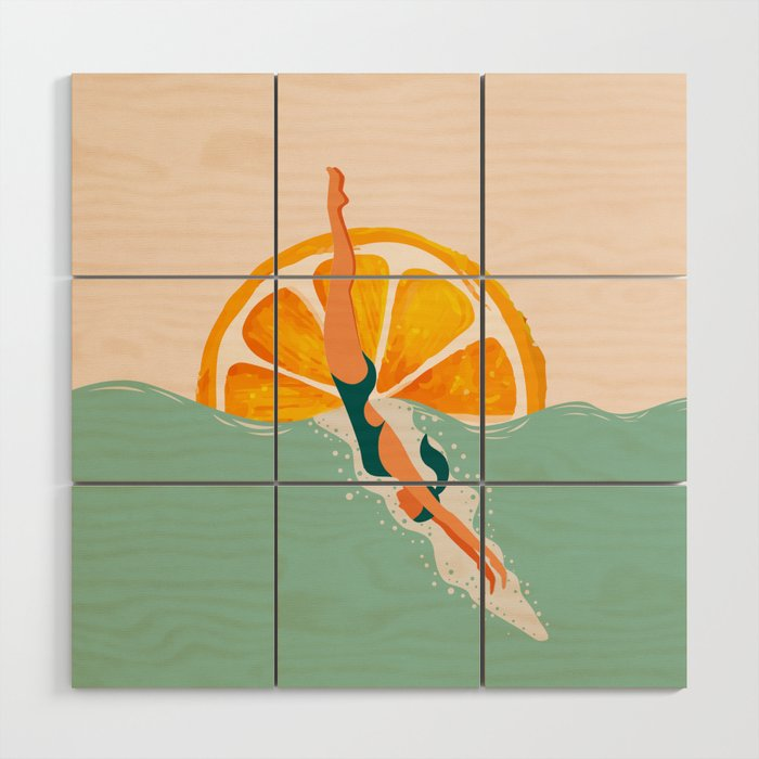 Girl Dive Wood Wall Art