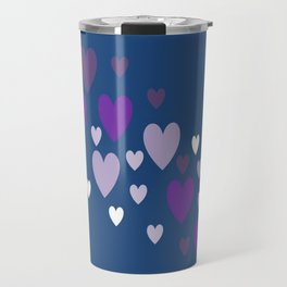Asymmetrical hearts (blue, lavender & purple) Travel Mug