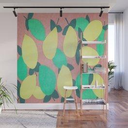 Lemony Fresh Citrus Pattern Wall Mural