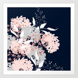 Wildflowers, Floral Print, Navy Blue and Pink Art Print