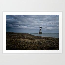 Storm Clouds Over The Trwyn Du Lighthouse Art Print