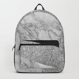 Stylish elegant black white silver glitter marble Backpack