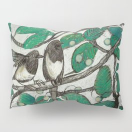 two magpies in a cherry tree. Pillow Sham