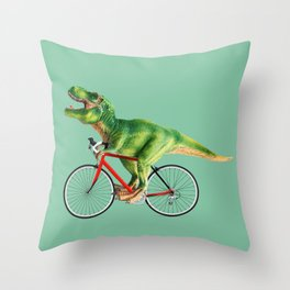 T-REX BIKE Throw Pillow