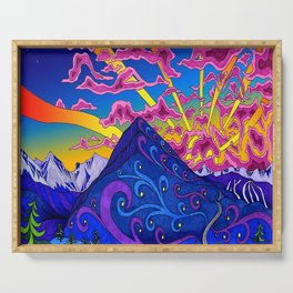 psychedelic colorful lines nature mountain trees snowy peak moon sun rays hill road artwork star sky Serving Tray