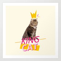 kit king Art Prints featuring King Cat by Kit & Cat