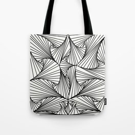 Black And White 3D Line Illusion Drawing Geometric Pattern Tote Bag