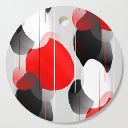 Modern Anxiety Abstract - Red, Black, Gray Cutting Board