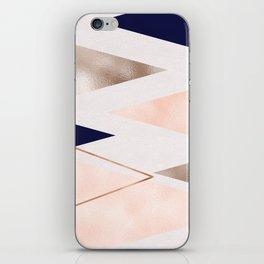 Rose gold french navy geometric iPhone Skin
