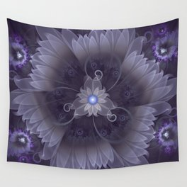 Amazing Fractal Triskelion Purple Passion Flower Wall Tapestry