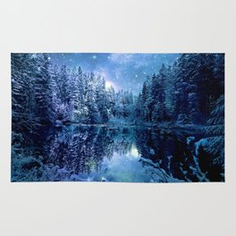 A Cold Winter's Night : Turquoise Teal Blue Winter Wonderland Rug