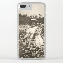 Vintage Photo of Sisters and Flowers Clear iPhone Case