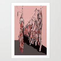 meat Art Prints featuring Meat by Robert Morris