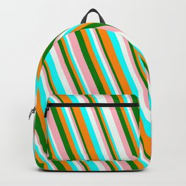 Vibrant Dark Orange, Green, Light Pink, Mint Cream, and Aqua Colored Striped/Lined Pattern Backpack