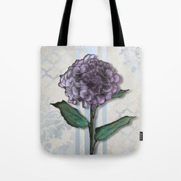 Hydrangea Damask and Quartrefoil Mixed Media Tote Bag