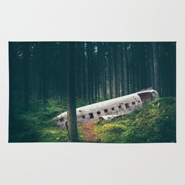 Surreal Iceland Plane Crash-Sólheimasandur Plane Crash in a Swedish Forest Rug