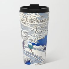 Utagawa Hiroshige Meguro Drum Bridge and Sunset Hill Metal Travel Mug