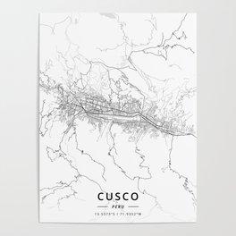 Cusco, Peru - Light Map Poster