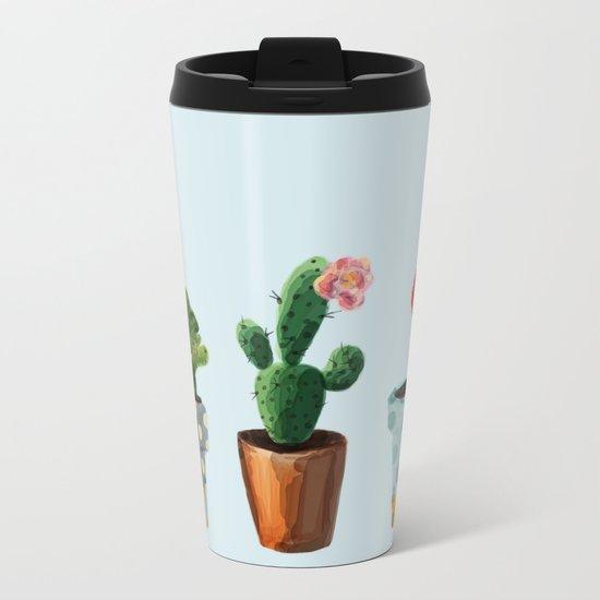 Three Cacti With Flowers On Light Blue Background Metal Travel Mug