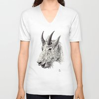 goat V-neck T-shirts featuring Goat by Ursula Rodgers