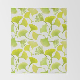 First Day of Autumn Ginkgo Leaves Throw Blanket