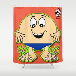 Swimmer Cartoon Character with Speedos and Magic Feet Shower Curtain